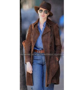 Anne Hathaway Brown Suede Trench Coat