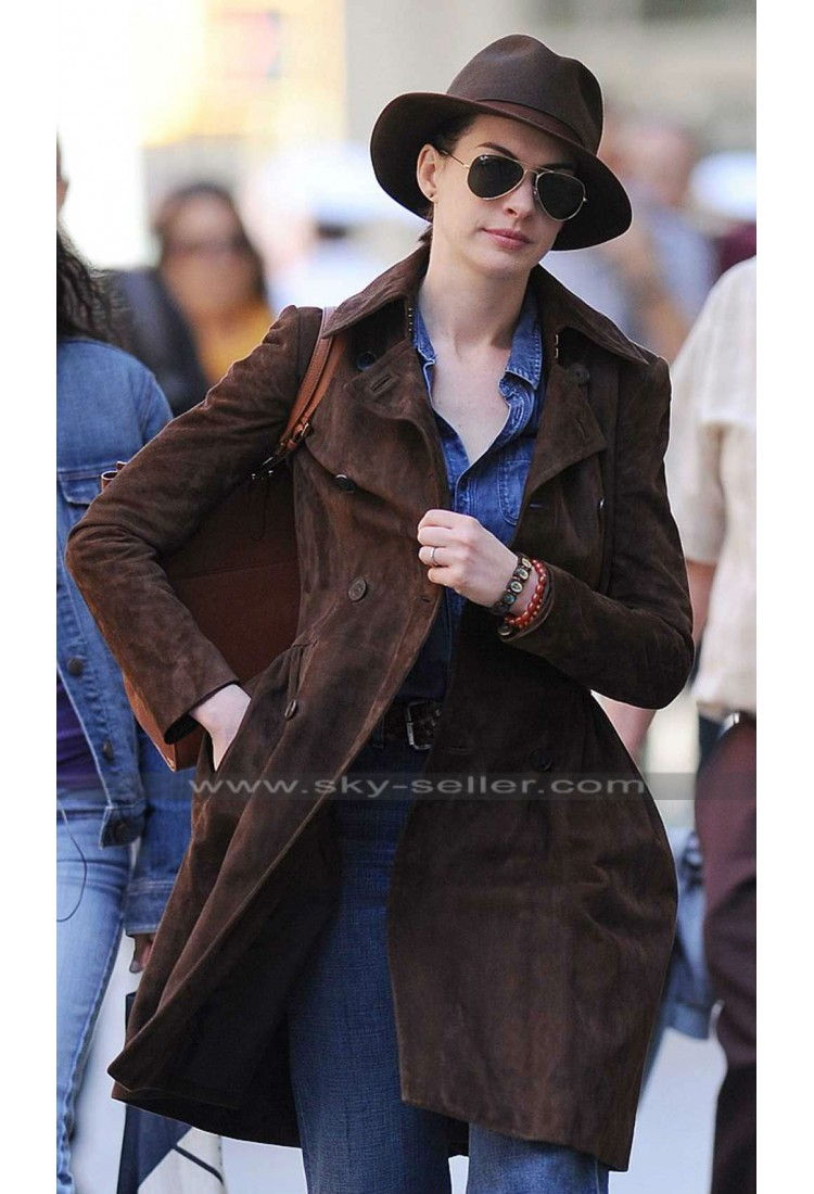 Anne Hathaway Brown Suede Trench Coat Anne Hathaway Brown
