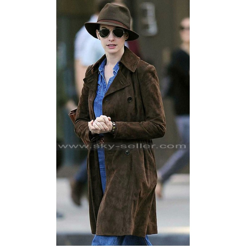 100% quality quarantee shop best sellers real quality Anne Hathaway Brown Suede Trench Coat