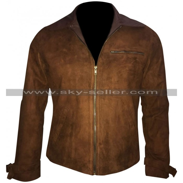 Allied Brad Pitt (Max Vatan) Brown Suede Leather Jacket