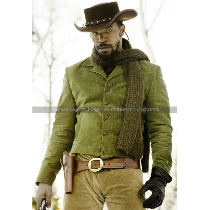 Jamie Foxx Django Unchained Green Leather Jacket