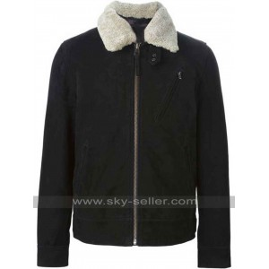 Lamb Fur Collar Black Leather Jacket for Mens
