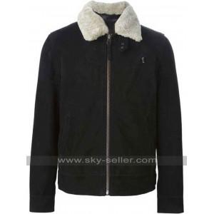 Lamb Fur Collar Black Leather Jacket for Mens
