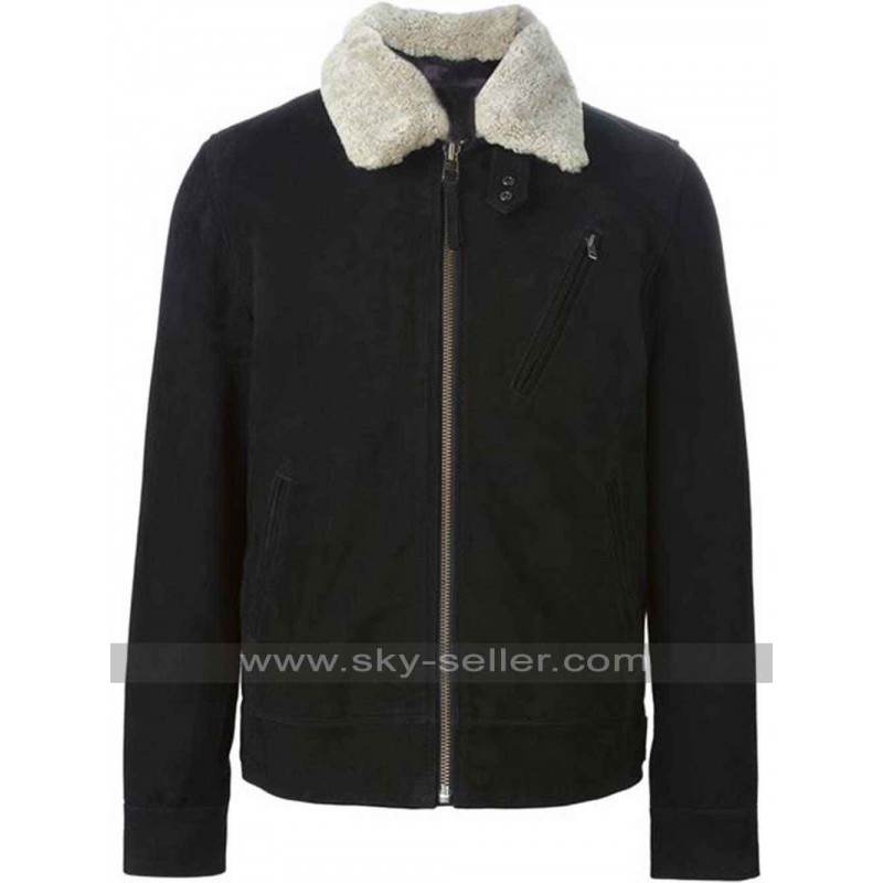 Fur Collar Black Leather Jacket for Mens