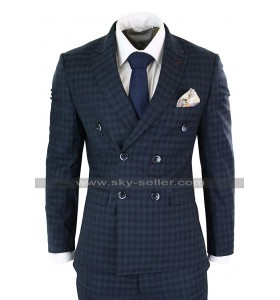 Vintage Checkered Style Blue Double Breasted 3 Piece 1920s Mens Suit