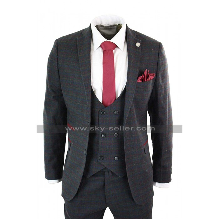 1920s Checkered Style Grey Woolen Double Breasted 3 Piece Mens Vintage Suit