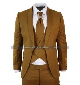 1920s Antique Brown Notch Lapel Collar 3 Piece Mens Vintage Suit
