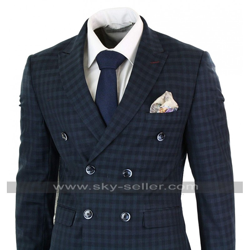 dd888cb94230 Vintage Checkered Style Blue Double Breasted 3 Piece 1920s Mens Suit