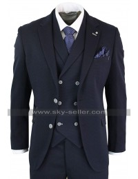 Mens 1920s Vintage Style Notch Lapel Collar Navy 3 Piece Suit