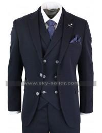 Mens 1920s Vintage Style Notch Lapel Collar Navy 3 Piece Suit