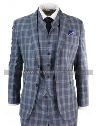 Mens Vintage Light Blue Checkered Style Notch Lapel 3 Piece 1920s Suit