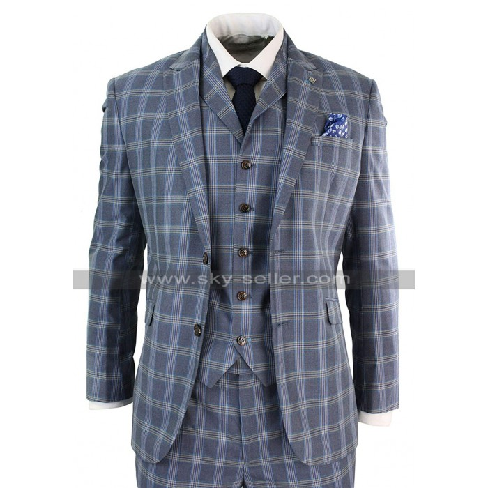 Mens Vintage Light Blue Checkered Style Notch Lapel 3 Piece 1920s Suit