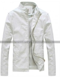 Slim Fit Stand Collar White Light Spring Jacket