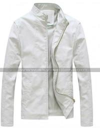 Slim Fit Stand Collar White Light Spring Jacket