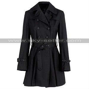 Women Belted Black French Summer Coat