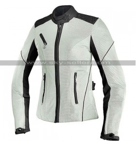 Women Biker Cordura Air Mesh Summer White Jacket