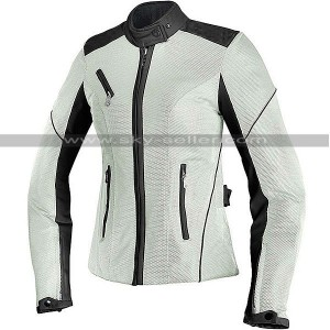 Women Biker Cordura Air Mesh Summer White Jacket