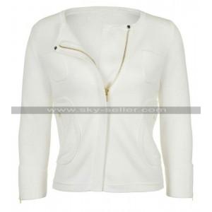 Womens Pure White Summer Collarless Jacket