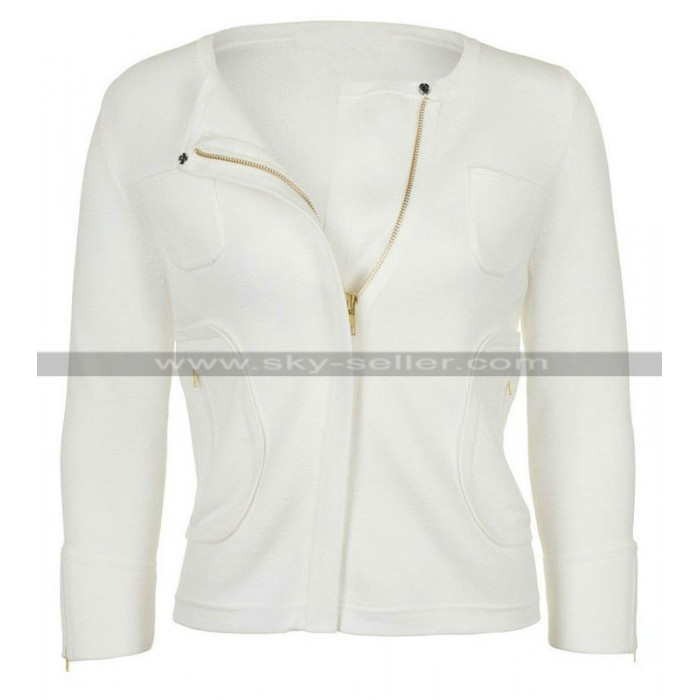 Womens Pure White Summer Collarless Jacket