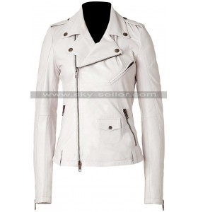 Keeley Hawes Ashes to Ashes Alex Drake White Leather Jacket