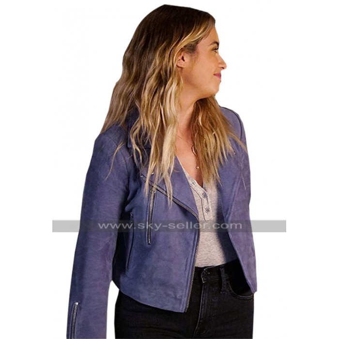 Ashley Benson Pretty Little Liars Hanna Marin Purple Brando Suede Leather Jacket