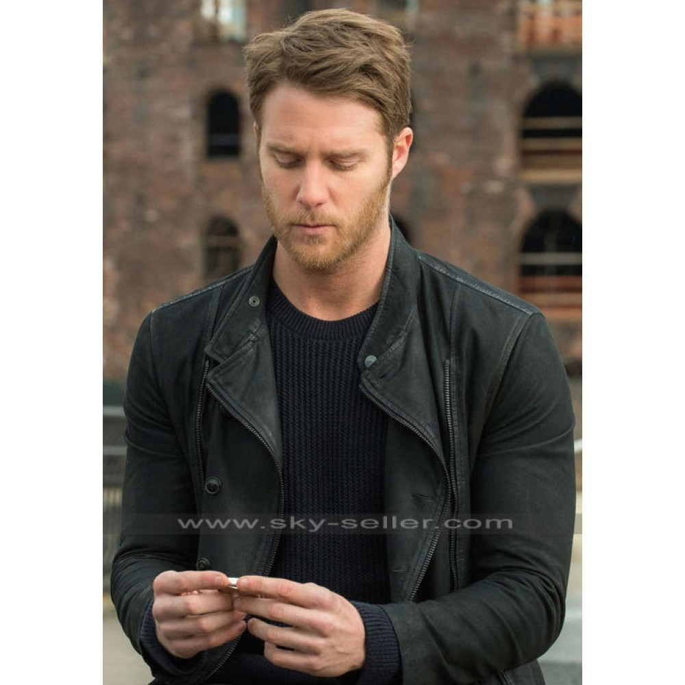 Black leather bomber jacket for men