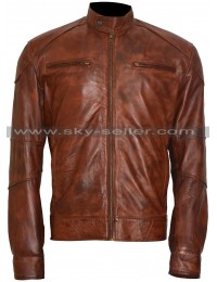 Damien Thorn Bradley James Distressed Brown Leather Jacket