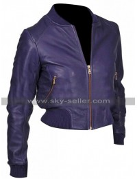 Billie Piper Doctor Who Rose Tyler Purple Bad Wolf Bomber Leather Jacket