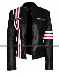 Future Man Eliza Coupe Tiger Multi Stripes Black Biker Leather Jacket