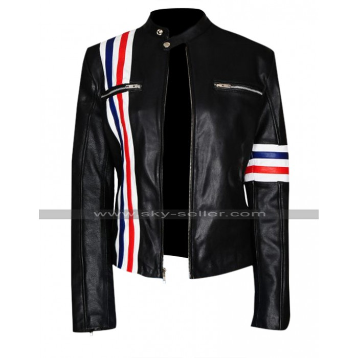 Future Man Eliza Coupe Tiger Multi Stripes Black Biker Leather Jacket