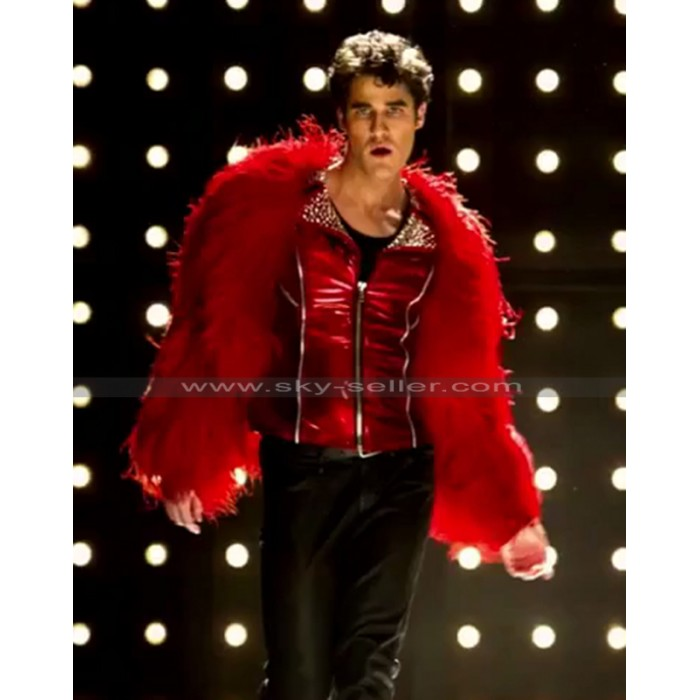 Glee Season 4 Darren Criss (Blaine Anderson) Diva Red Studded Jacket