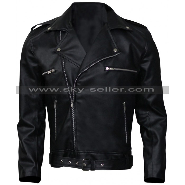 Walking Dead Jeffrey Dean Morgan Negan Black Leather Jacket
