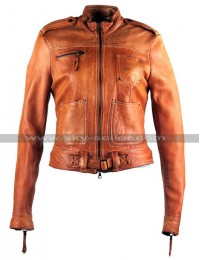 Once Upon a Time S4 Emma Swan Tan Leather Jacket
