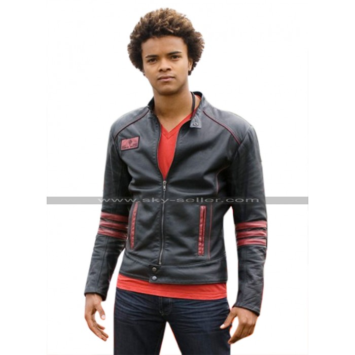 Power Rangers RPM Scott Truman Red Stripes Black Leather Jacket