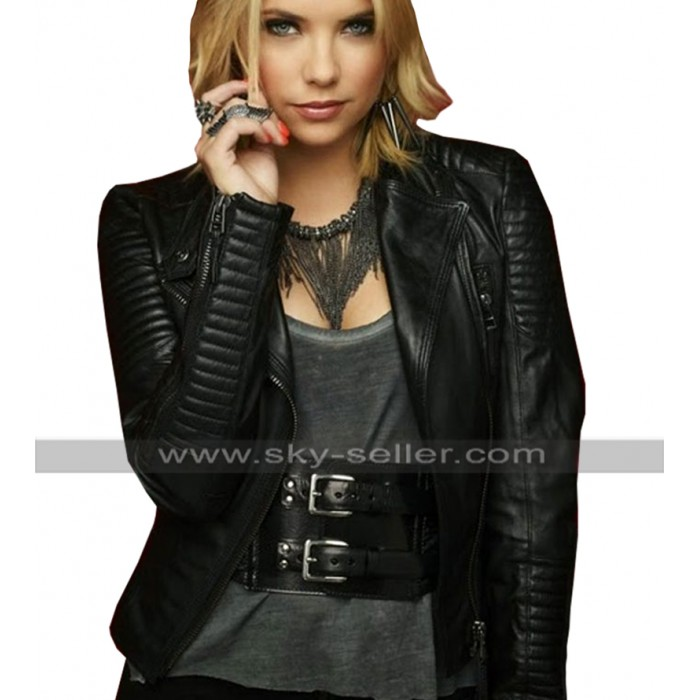 Hanna Marin Pretty Little Liars Ashley Benson Quilted Black Biker Leather Jacket
