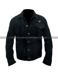 Cole Hauser Yellowstone Rip Wheeler Black Suede Leather Jacket