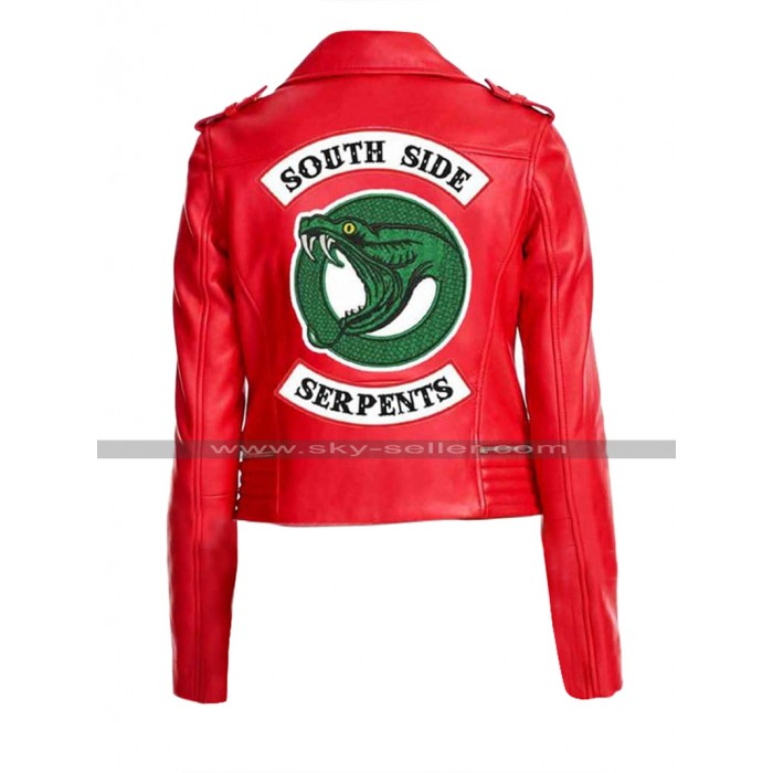 Riverdale Southside Serpents Cheryl Blossom Red / Black Leather Jacket For Women