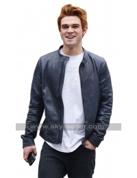 KJ Apa Riverdale TV Series Blue Leather Jacket