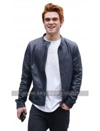 KJ Apa Riverdale TV Series Blue Leather Jacket