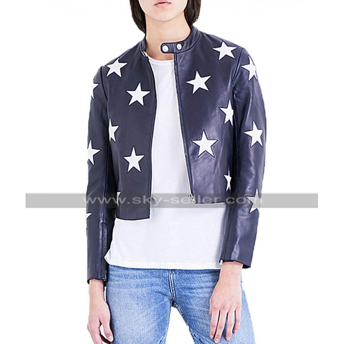 Cheryl Blossom Riverdale Retro Star Blue Biker Leather Jacket
