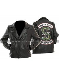 Womens Riverdale Southside Serpents Jughead Biker Black Leather Jacket