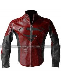 Clark Kent Superman Smallville Tom Welling Red and Black Leather Jacket