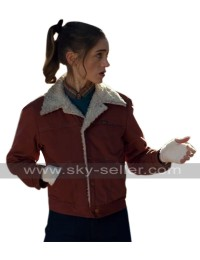 Stranger Things TV Series Nancy Wheeler Red Denim Fur Jacket