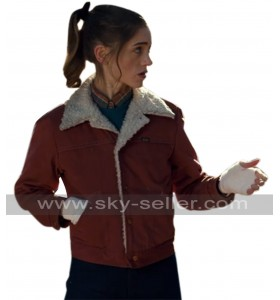 Stranger Things TV Series Nancy Wheeler Red Denim Fur Jacket