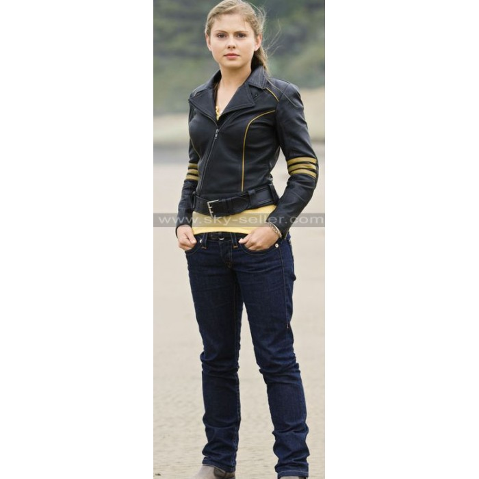 Rose McIver Power Rangers RPM Yellow Ranger Leather Jacket