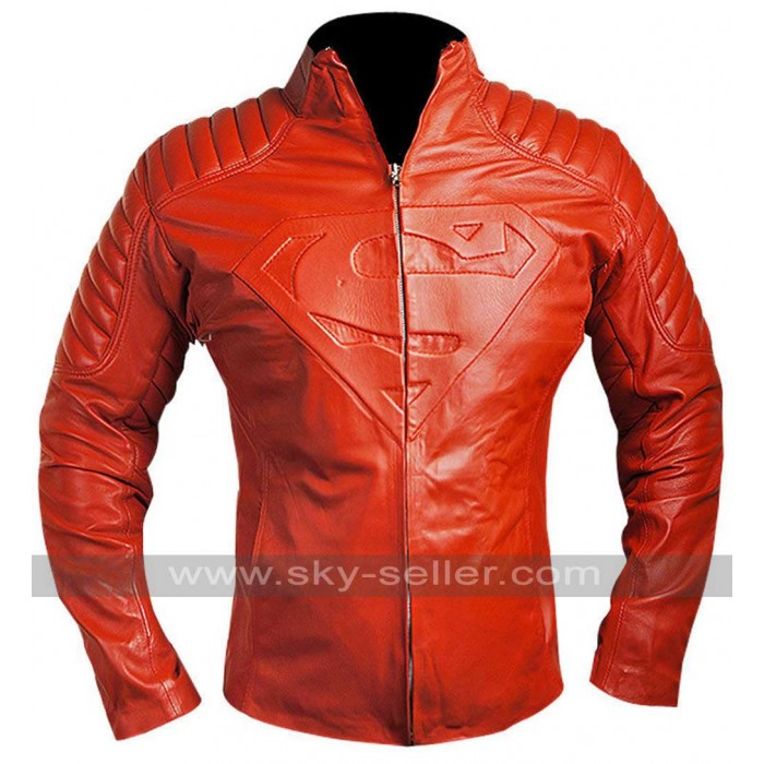 Superman Smallville Blood Red Leather Shield Jacket