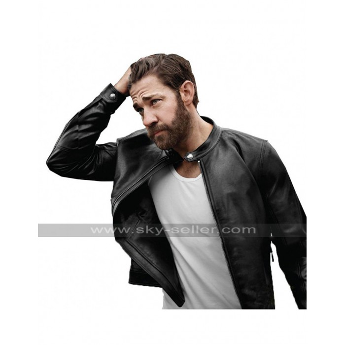Tom Clancy's Jack Ryan John Krasinski Black Biker Leather Jacket