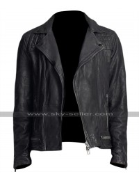 13 Reasons Why Tony Padilla Quilted Shoulders Black Biker Jacket