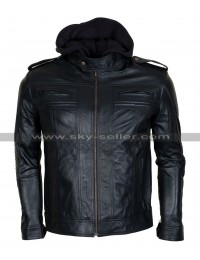 AJ Styles Wrestler Black Hooded Leather Jacket
