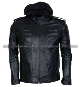 AJ Styles Wrestler Black Hooded Leather Jacket